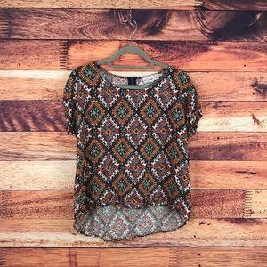 Pink Republic Tan Aztec Print Short Sleeve Top